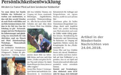 """2018 Niederrhein Nachrichten Artikel """"Angstfrei Reiten und Persönlichkeitsentwicklung"""""""