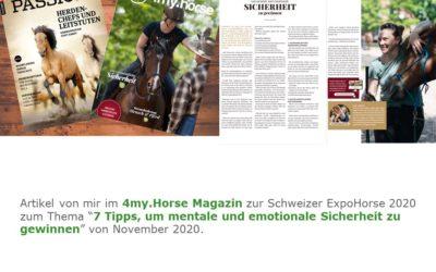 """2020 4my.Horse Artikel """"7 Tipps, um mentale und emotionale Sicherheit zu gewinnen"""""""