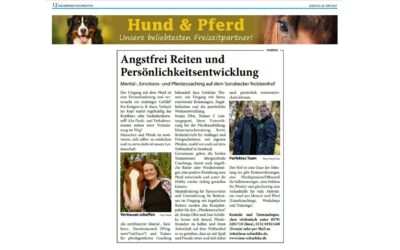 """2021 Niederrhein Nachrichten Artikel """"Angstfrei Reiten und Persönlichkeitsentwicklung"""""""